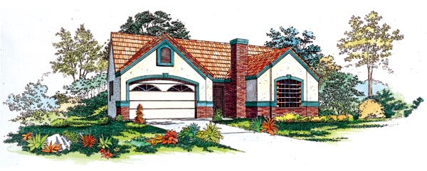 House Plan 95198 | Traditional Style Plan with 1375 Sq Ft, 3 Bedrooms, 3 Bathrooms, 2 Car Garage Elevation