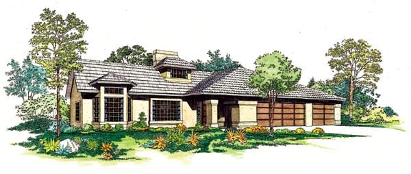 Contemporary Southwest House Plan 95199 Elevation