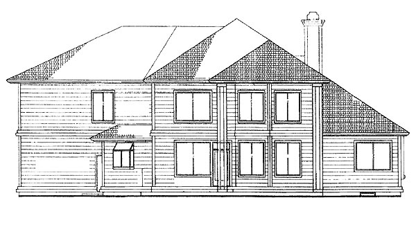 Contemporary House Plan 95202 Rear Elevation