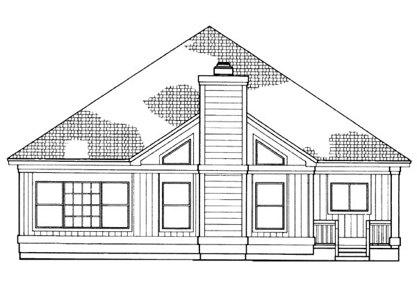 House Plan 95203 | Traditional Style Plan with 1273 Sq Ft, 2 Bedrooms, 2 Bathrooms, 2 Car Garage Rear Elevation