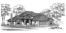Traditional House Plan 95205 with 4 Beds, 4 Baths, 2 Car Garage Elevation