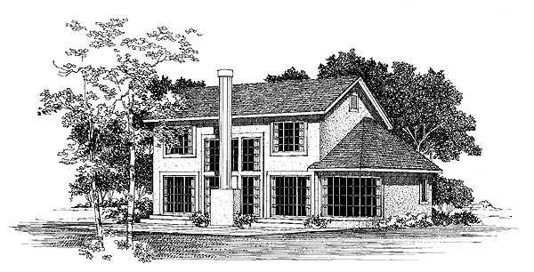 Contemporary House Plan 95206 Rear Elevation