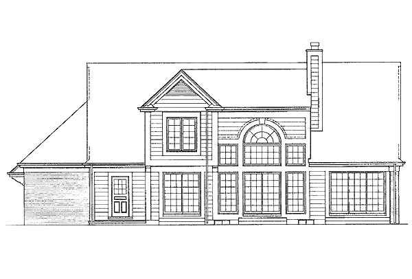 Traditional House Plan 95207 with 4 Beds, 3 Baths, 2 Car Garage Rear Elevation