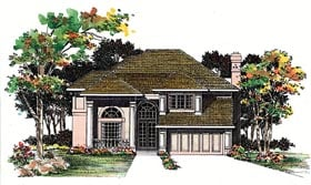 Traditional House Plan 95208 with 4 Beds, 3 Baths, 2 Car Garage Elevation