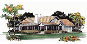 House Plan 95209 | Ranch Style Plan with 1410 Sq Ft, 3 Bedrooms, 2 Bathrooms, 2 Car Garage Elevation