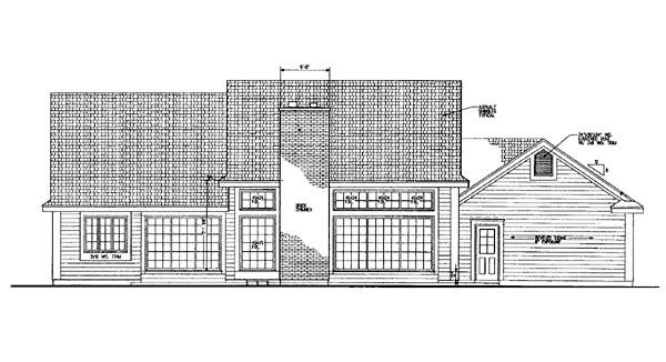 Ranch House Plan 95213 Rear Elevation