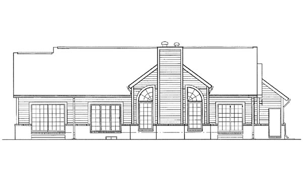 Ranch House Plan 95215 Rear Elevation