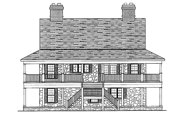Country Southern House Plan 95222 Rear Elevation