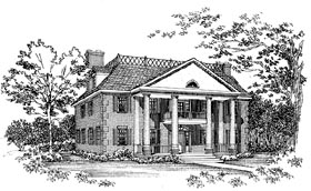 Colonial House Plan 95225 with 4 Beds, 4 Baths Elevation
