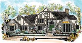 Tudor House Plan 95228 with 4 Beds, 6 Baths, 3 Car Garage Elevation