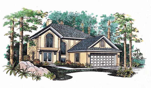 House Plan 95229 | Contemporary Style Plan with 2109 Sq Ft, 3 Bedrooms, 3 Bathrooms, 2 Car Garage Elevation