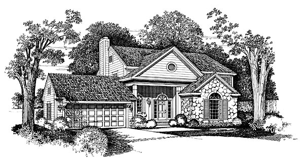 House Plan 95230 | Traditional Style Plan with 2041 Sq Ft, 3 Bedrooms, 3 Bathrooms, 2 Car Garage Elevation