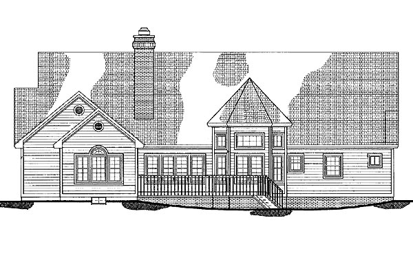 Country , Rear Elevation of Plan 95238