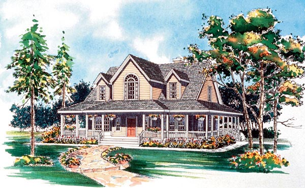 House Plan 95241 | Country Farmhouse Style Plan with 1771 Sq Ft, 3 Bedrooms, 3 Bathrooms Elevation