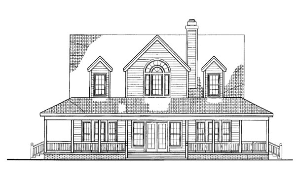 House Plan 95241 | Country Farmhouse Style Plan with 1771 Sq Ft, 3 Bedrooms, 3 Bathrooms Rear Elevation
