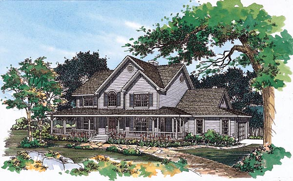 Country , Farmhouse , Elevation of Plan 95244