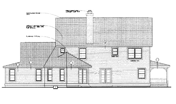 Country , Farmhouse , Rear Elevation of Plan 95244