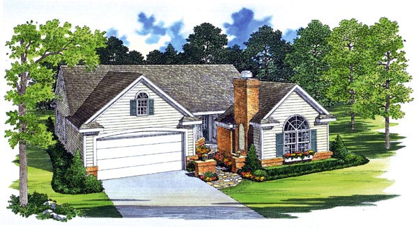Traditional House Plan 95245 with 4 Beds , 3 Baths , 2 Car Garage Elevation