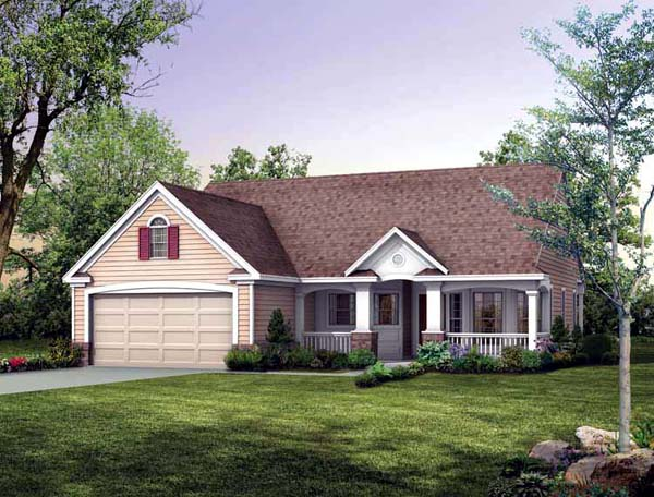 House Plan 95247 | Country Ranch Style Plan with 1118 Sq Ft, 2 Bedrooms, 2 Bathrooms, 2 Car Garage Elevation