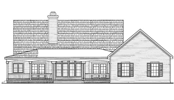 House Plan 95248 | Country Style Plan with 2170 Sq Ft, 3 Bedrooms, 3 Bathrooms, 2 Car Garage Rear Elevation