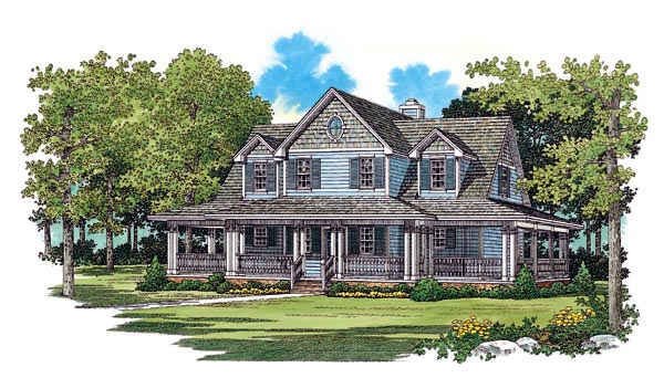 Country, Farmhouse House Plan 95249 with 3 Beds, 3 Baths, 2 Car Garage Elevation