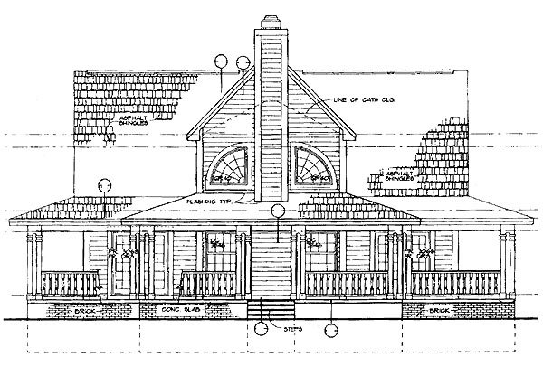 Country, Farmhouse House Plan 95249 with 3 Beds, 3 Baths, 2 Car Garage Rear Elevation