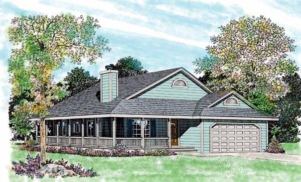 House Plan 95252 | Country Style Plan with 1646 Sq Ft, 3 Bedrooms, 2 Bathrooms, 2 Car Garage Elevation