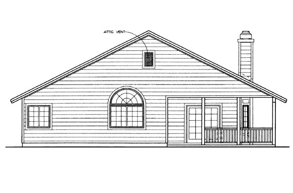 House Plan 95252 | Country Style Plan with 1646 Sq Ft, 3 Bedrooms, 2 Bathrooms, 2 Car Garage Rear Elevation