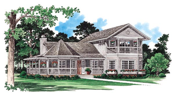 Country, Farmhouse, Victorian House Plan 95253 with 3 Beds, 3 Baths Front Elevation