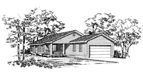 House Plan 95262   Ranch Style Plan with 1433 Sq Ft, 3 Bedrooms, 2 Bathrooms, 2 Car Garage Elevation