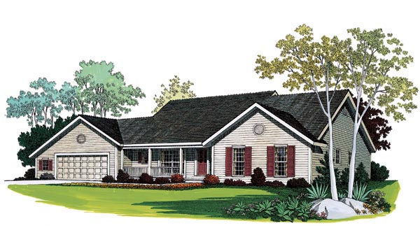 Ranch House Plan 95267 with 3 Beds, 2 Baths, 2 Car Garage Front Elevation