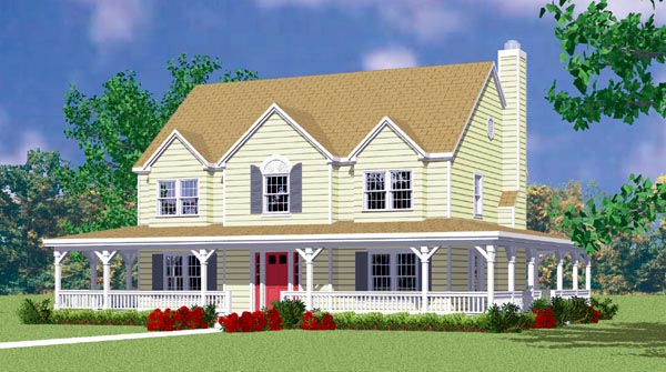 Country, Farmhouse House Plan 95274 with 4 Beds, 3 Baths, 2 Car Garage Front Elevation
