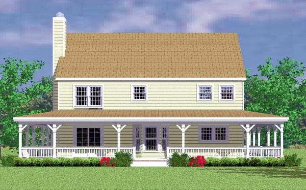 Country, Farmhouse House Plan 95274 with 4 Beds, 3 Baths, 2 Car Garage Rear Elevation