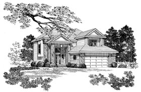 Contemporary House Plan 95276 with 4 Beds, 3 Baths, 2 Car Garage Elevation