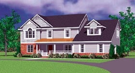 House Plan 95277 | Traditional Style Plan with 2359 Sq Ft, 4 Bedrooms, 3 Bathrooms, 2 Car Garage Elevation