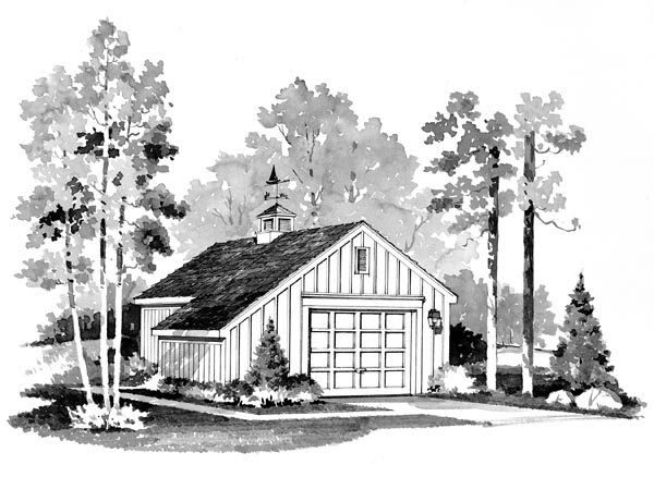 Country, Farmhouse 1 Car Garage Plan 95284 Elevation