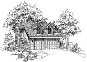 Garage Plan 95287 | Style Plan with 428 Sq Ft, 1 Bathrooms, 2 Car Garage Elevation