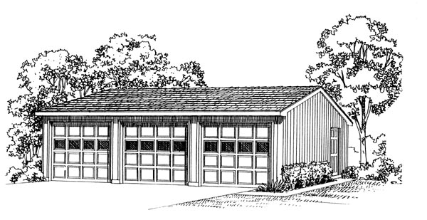 3 Car Garage Plan 95294 Elevation