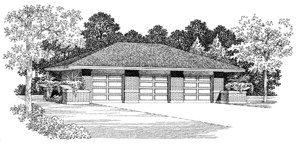 3 Car Garage Plan 95296 Elevation