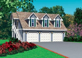 3 Car Garage Apartment Plan 95297, 1 Baths Elevation