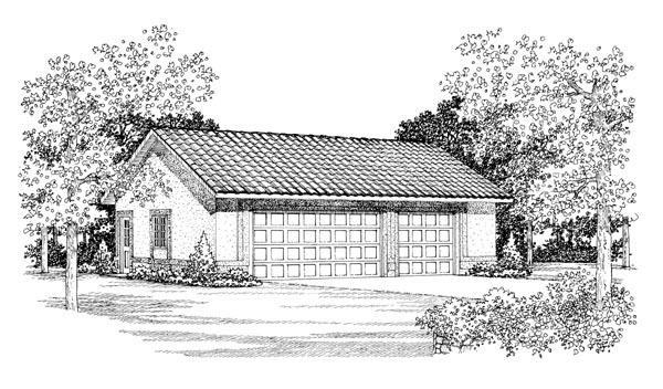 3 Car Garage Plan 95298 Elevation