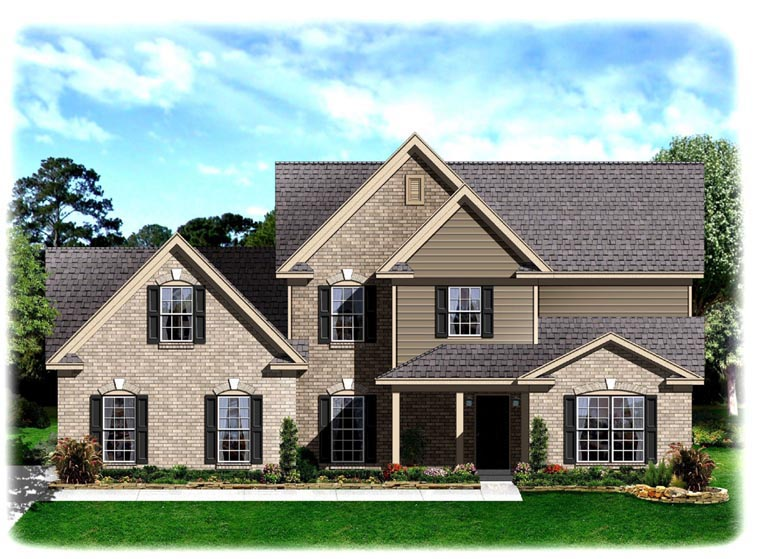 Traditional House Plan 95328 with 4 Beds, 3 Baths, 2 Car Garage Elevation