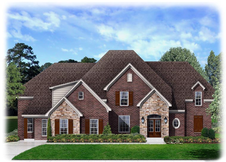 Traditional House Plan 95335 with 4 Beds, 3 Baths, 3 Car Garage Front Elevation