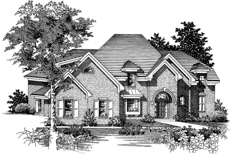 Traditional House Plan 95336 with 4 Beds, 3 Baths, 3 Car Garage Picture 1