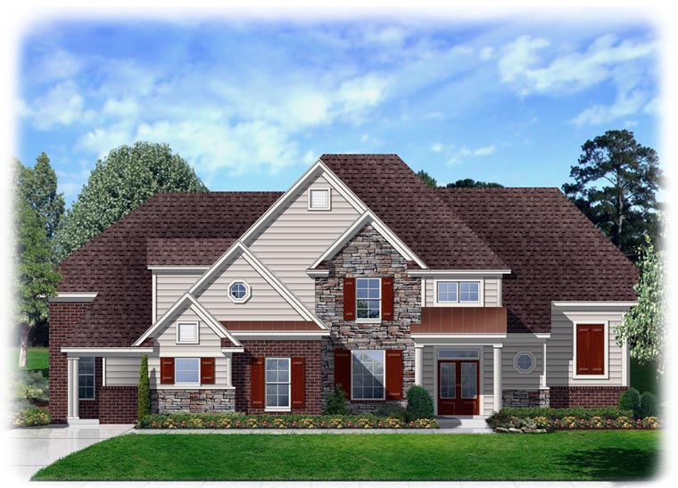 Traditional House Plan 95337 with 4 Beds, 3 Baths, 3 Car Garage Elevation