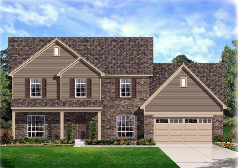 Traditional House Plan 95342 with 4 Beds, 3 Baths, 2 Car Garage Elevation