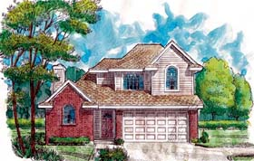 House Plan 95501 with 3 Beds, 3 Baths, 2 Car Garage Elevation