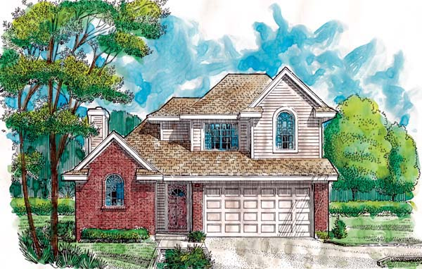 Narrow Lot House Plan 95501 with 3 Beds, 3 Baths, 2 Car Garage Elevation