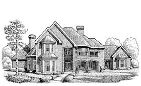 European House Plan 95504 with 5 Beds, 6 Baths, 3 Car Garage Elevation