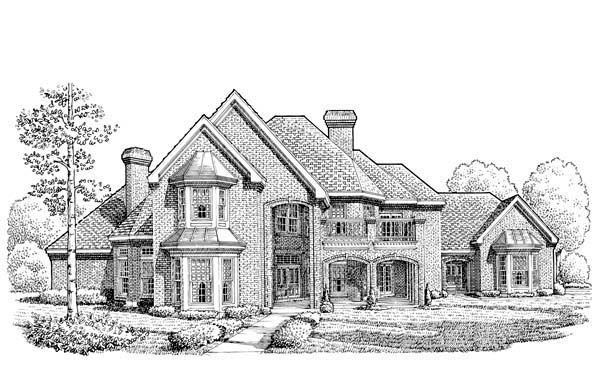 European House Plan 95504 with 5 Beds, 6 Baths, 3 Car Garage Elevation